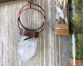 Large Tourmilated Quartz Crystal Necklace / Black Tourmaline Clear Quartz Crystal Necklace / Natural Stone Long Layering Necklace