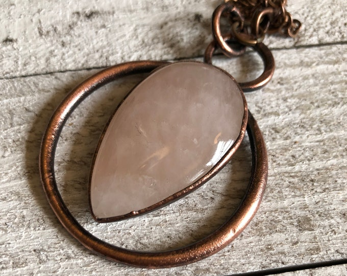 Crystal Necklace Rose Quartz Teardrop Pendant