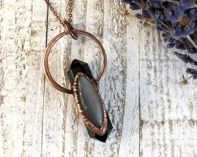 Crystal Necklace Black Obsidian Grey Moonstone Necklace