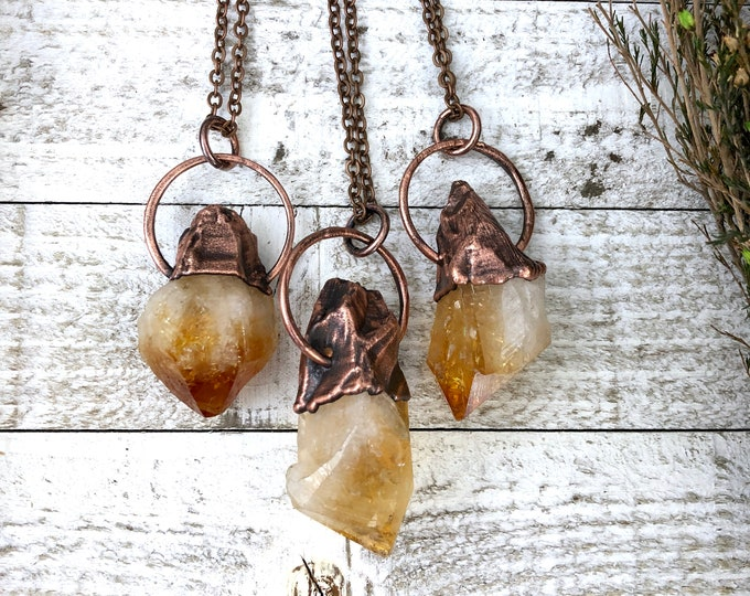 Raw Crystal Necklace Large Rough Citrine Necklace Pendant