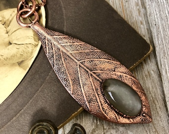 Grey Moonstone Crystal Necklace / Copper Leaf Natural Stone Necklace Pendant
