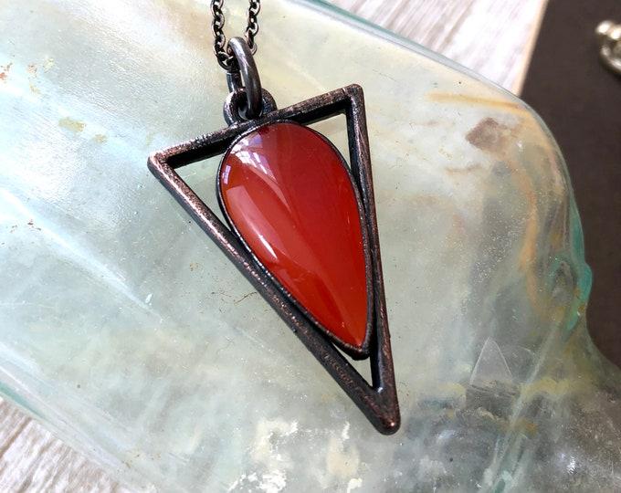 Geometric Natural Red Stone Pendant