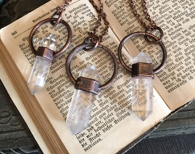 Crystal Necklace Clear Quartz Jewelry / Healing Crystal Pendant / Boho Necklace