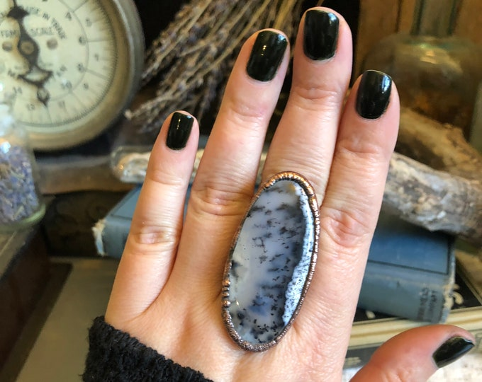 Size 7.75 Natural Moss Opal Ring Large Crystal Ring