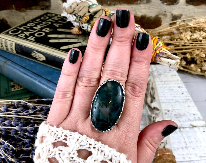 Size 9.25 Silver Natural Moss Agate Ring