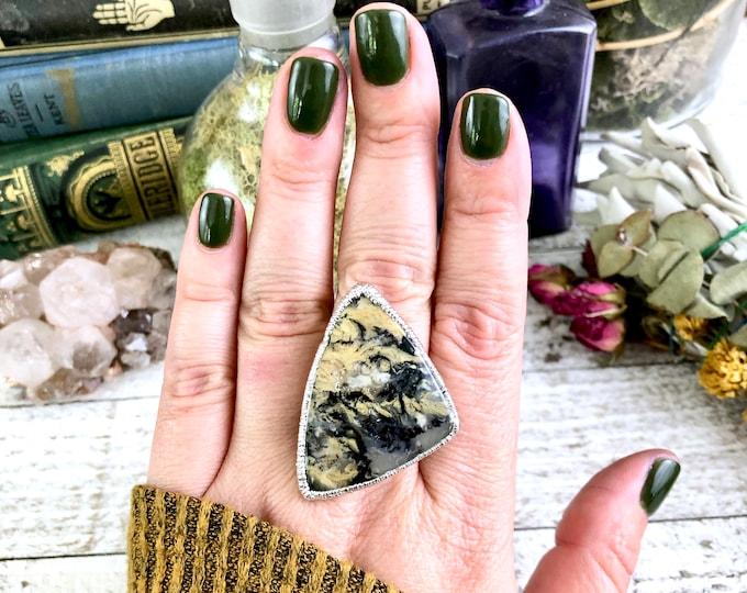 Natural Tiger Agate Ring Size 8.25 Large Crystal Ring / Big Silver Rhodium Ring