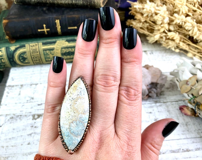 Natural Stone Ring Fossilized Coral Statement Ring Size 7