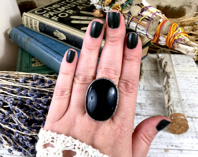 Size 10.5 Rainbow Obsidian Ring in Silver