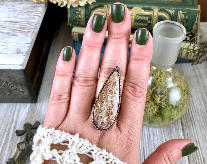 Natural Stone Ring Fossilized Coral Statement Ring Size 9.75