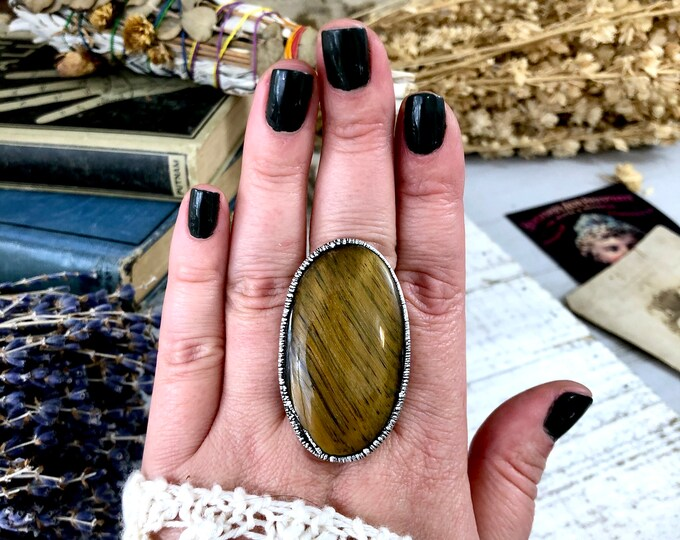 Silver Tigers Eye Ring Size 8.5 / Natural Big Stone Ring