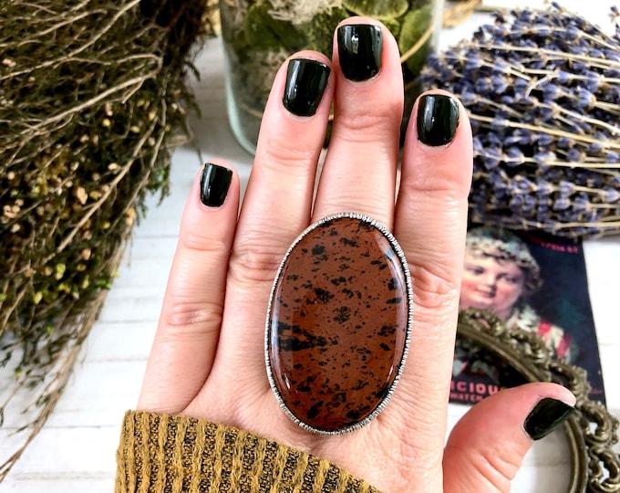 Silver Mahogany Obsidian Ring Size 8.5