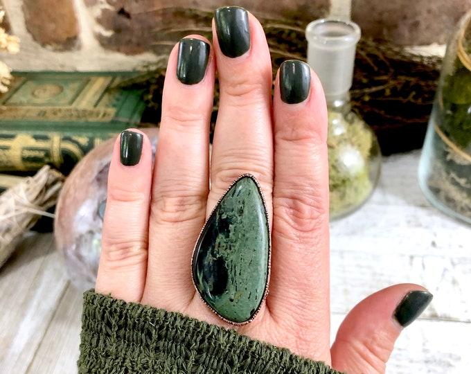 Kambaba Jasper Ring Size 7.5 Large Green Stone Ring Big Statement Ring