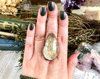 Large Crystal Ring Size 8.25 / Garden Quartz Ring Lodolite Quartz Crystal Ring