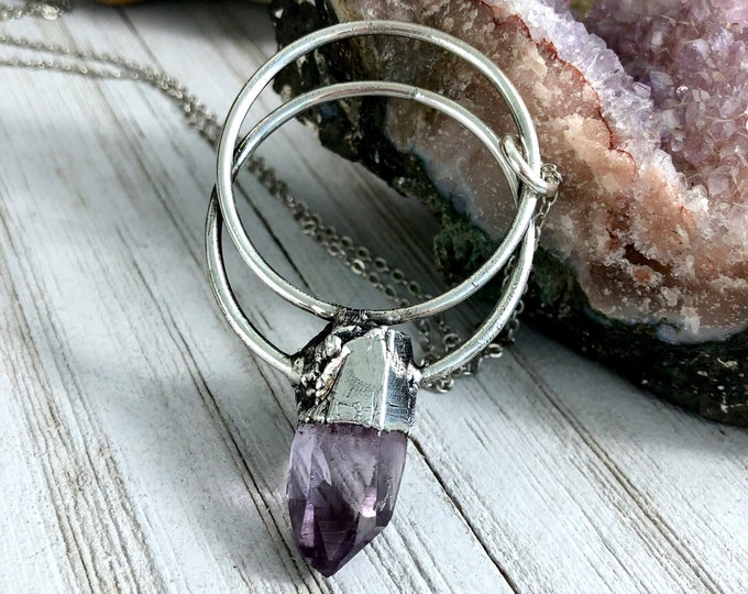Raw Veracruz Amethyst Necklace / Big Purple Crystal Necklace Pendant for Women Silver