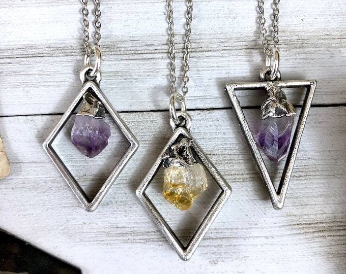 Raw Citrine or Amethyst Necklace in Silver