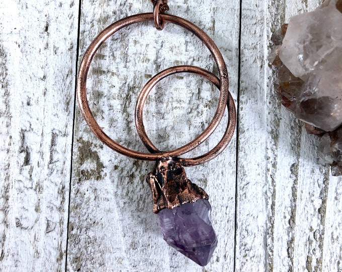 Raw Amethyst Necklace Pendant, Big Crystal Necklace , Stone Statement Necklace