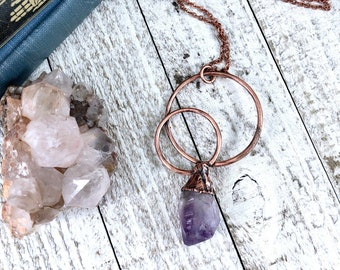 Raw Amethyst Necklace Pendant, Raw Crystal Necklace , Big Stone Statement Necklace