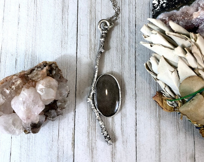 Silver Sheen Obsidian Necklace in Silver / Natural Wood & Stone Necklace Pendant