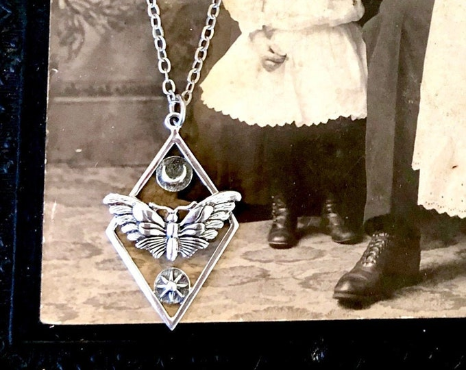 Tiny Talisman Collection - Sterling Silver Geometric Moth Necklace with Sun and Moon 32x21mm  / Curated  Collection 925