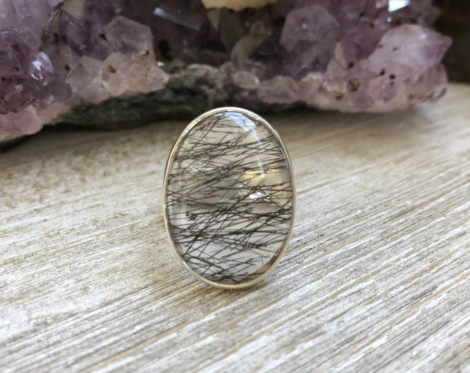 Size 7 Tourmaline Quartz Statement Ring Set in Sterling Silver / Curated by FOXLARK collection / Natural Stone Ring