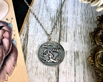 Tiny Talisman Collection - Sterling Silver Mermaid Coin Necklace Pendant 21x21mm  / Curated  Collection