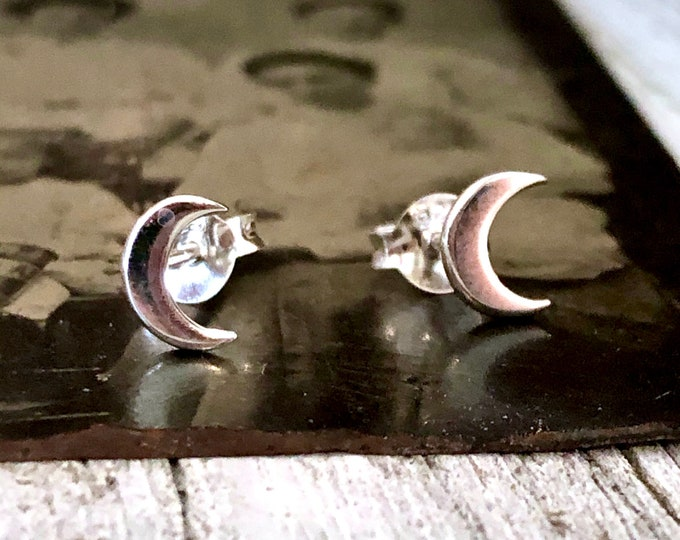 Tiny Sterling Silver Crescent Moon Post Earrings 7x5mm