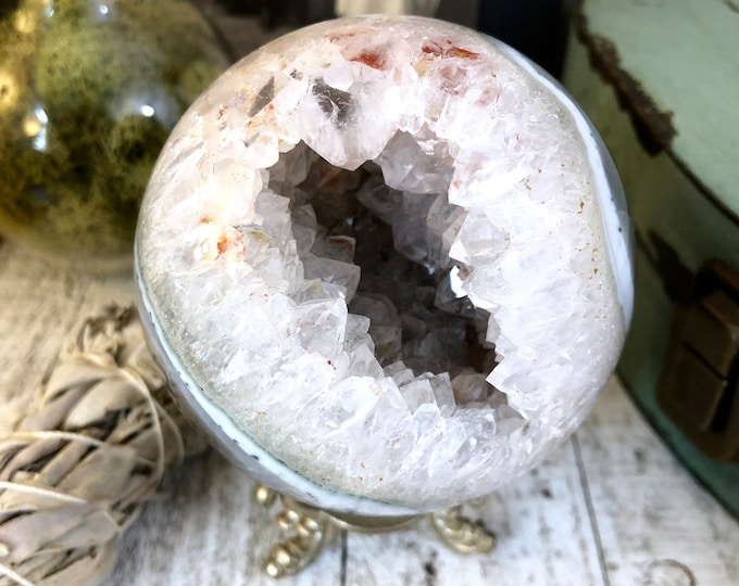 Geode Crystal Ball Banded Agate Druzy Crystal /  Banded Agate Geode