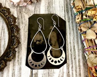 Moon Phase Sterling Silver & Stainless Steel Earrings / Long Dangly Geometric Earrings