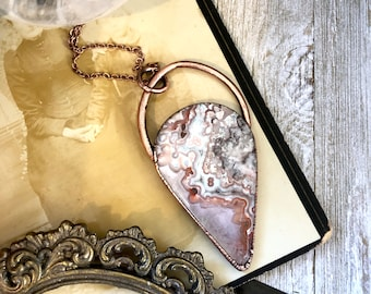 Crystal Necklace Crazy Lace Agate Necklace Pendant