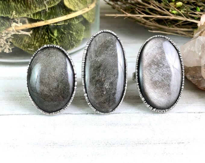 Silver Sheen Obsidian Ring in Silver