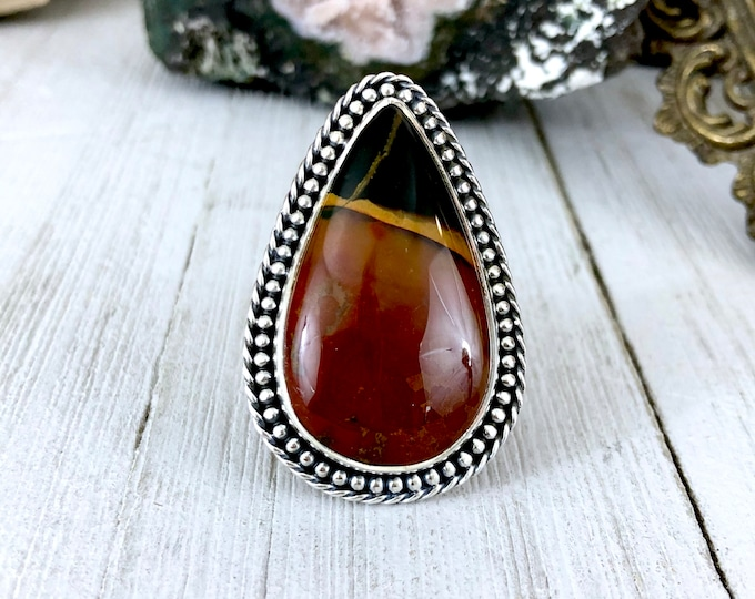 Bloodstone Statement Ring Set in Sterling Silver Size 9 / Curated by FOXLARK Collection