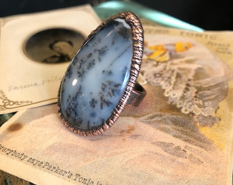 Moss Opal Ring Size 7 .75 /  Large Crystal Ring / Natural Moss Opal Ring