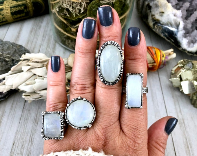 Rainbow Moonstone Silver Statement Ring