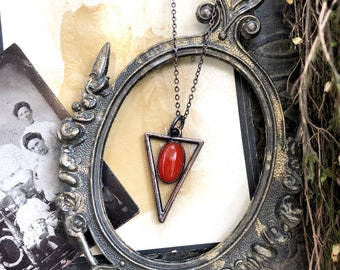 Carnelian Necklace Crystal Jewelry Geometric Natural Red Stone Pendant