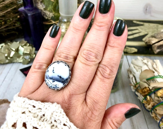 Size 8 Dendritic Opal Statement Ring Set in Sterling Silver / Curated by FOXLARK collection / Natural Stone Ring