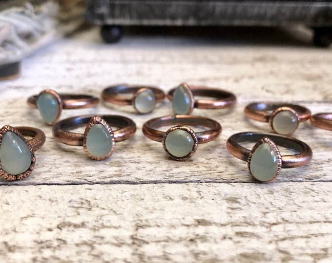 Crystal Ring Blue Chalcedony Ring / Blue Stone Ring / Gypsy Jewelry / Copper Electroformed Ring / Unique Boho Ring Gift