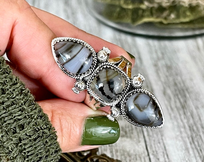 Triple Stone Montana Moss Agate Ring in Solid Sterling Silver- Designed by FOXLARK Collection Size 6 7 8 9 10