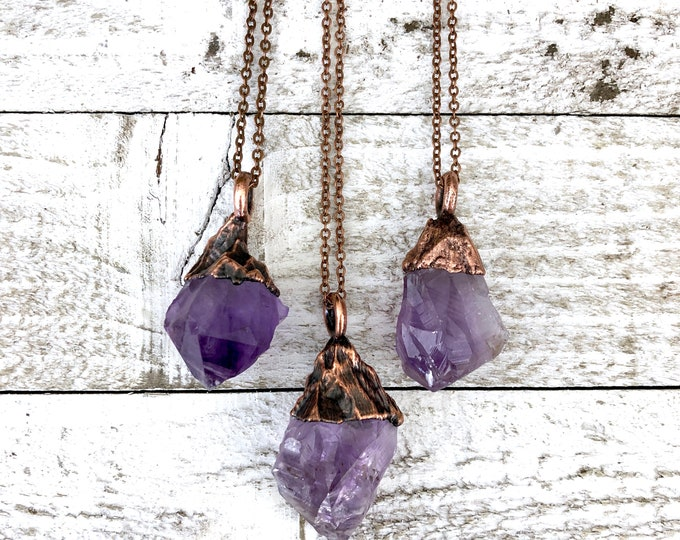 Boho Rough Stone Jewelry / Small Raw Amethyst Crystal Necklace