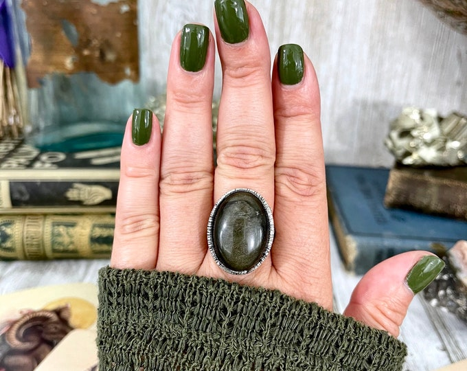 Size 8.5 Golden Sheen Obsidian Statement Ring in Fine Silver /  Foxlark Collection - One of a Kind