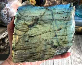 Natural Polished Labradorite Display Specimen / Boho Rock Decor Crystal Decor