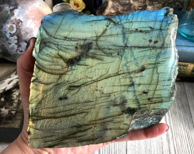 Natural Polished Labradorite Display Specimen / Boho Rock Decor Crystal Decor