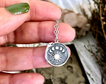 Tiny Talisman Collection - Sterling Silver  Silver Ouroboros with Moon Phases Necklace Pendant  15mm  / Curated  Collection