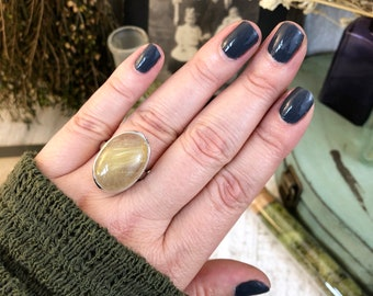 Size 8 Golden Rutilated Quartz Ring Set in Sterling Silver / Curated by FOXLARK collection