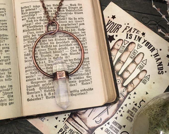 Copper Clear Quartz Crystal Necklace Pendant / Bohemian Necklace / Gypsy Necklace Large Crystal Jewelry / Gothic Jewelry Boho gift idea
