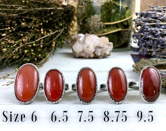 Red Carnelian Ring in Silver / Foxlark Collection - One of a Kind
