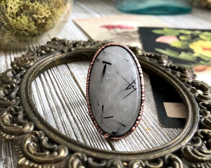 Size 8 1/2 Tourmilated Quartz Ring / Natural Stone Ring Healing Crystals Ring