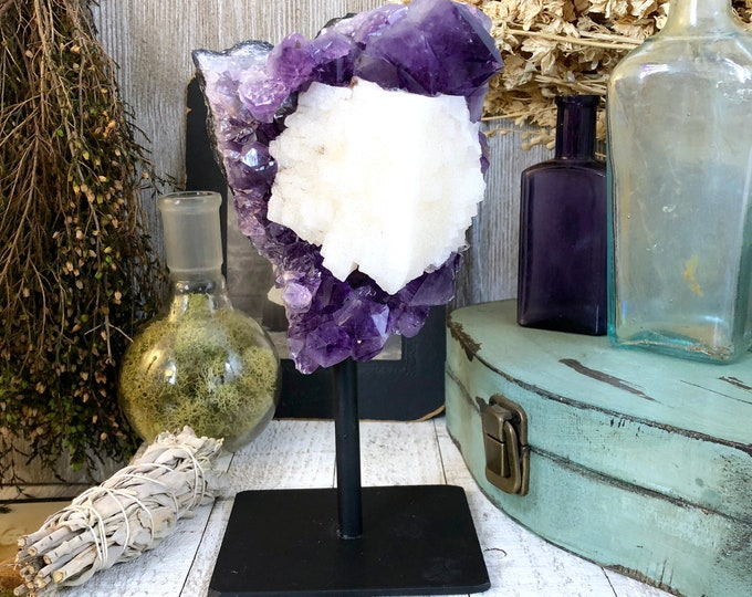 Large Amethyst and Calcite Cluster / Purple Crystal Cluster / Standing Crystal / Amethyst with Stand / Gift / Home Decor / Holidays
