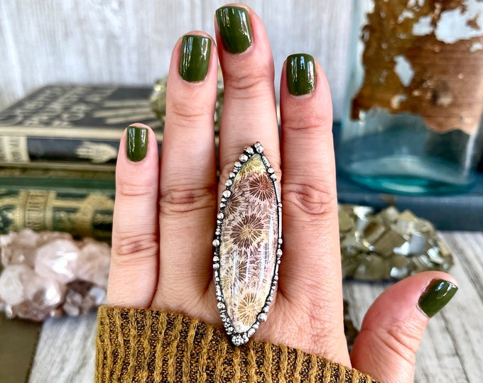 Size 8.5 Fossilized Coral Silver Statement Ring in Fine Silver / Foxlark Collection - One of a Kind