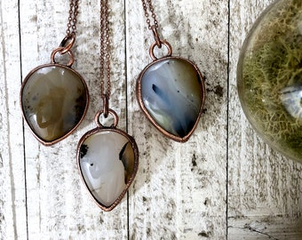 Dendritic Agate Necklace Crystal Pendant / Gypsy Jewelry Agate Statement Necklace