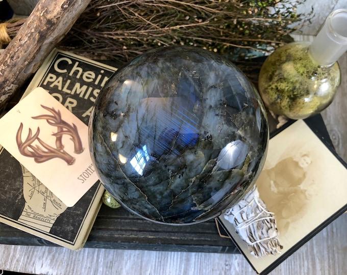 Large Labradorite Crystal Sphere Large Crystal Ball